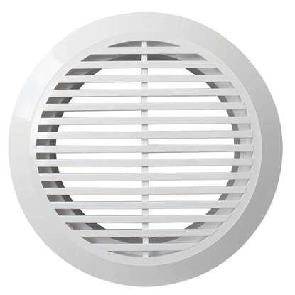 Image de Grille de ventilation en plastique 10RKF, blanc, ronde Ø 100 mm Avec bride de montage Diamètre extérieur 145mm.