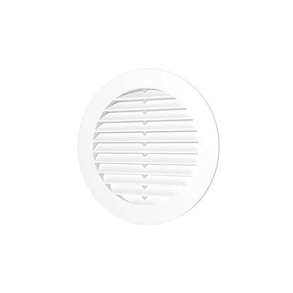 Image de Grille de ventilation en plastique 10RKS, ronde Ø 100 mm, avec moustiquaire. Diamètre extérieur 130mm.