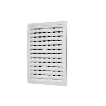 Immagine di Griglia di ventilazione in plastica 2525RRP, 150x150 mm, bianco, senza zanzariera. Chiudibile.