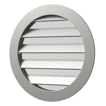 Immagine di Griglia di ventilazione in aluminium 20RKM, alu, rotonda Ø 200 mm con zanzariera. (Outdoor). Con flangia di montaggio Diametro esterno 225mm.