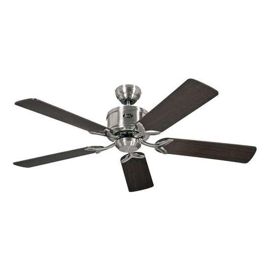 Immagine di Ventilatore da soffitto a risparmio energetico Eco Elements 132 BN, cromo spazzolato Ø 132cm. Eliche wenge/acero con telecomando