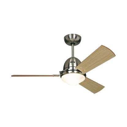 Image de Ventilateur de plafond Libeccio BN, chrome brossé Ø 120/142cm. Avec télécommande.