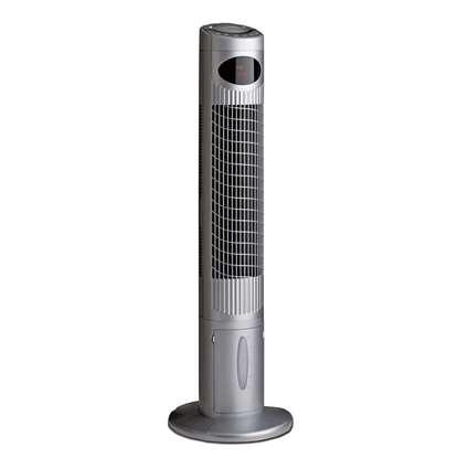 Image de Ventilateur à tour AIROS Cool avec humidification laque argent satiné 1135mm. Avec télécommande.