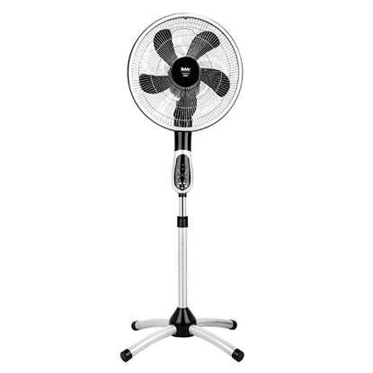 Image de Ventilateur sur colonne Prestige VC 360° argent/ noir. Diamètre de corbeille 470mm avec télécommande.