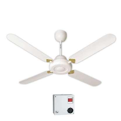 Image de Ventilateur de plafond Nordik Decor 1S 140 blanc Ø 142.2 cm. Avec régulateur à 5 vitesses