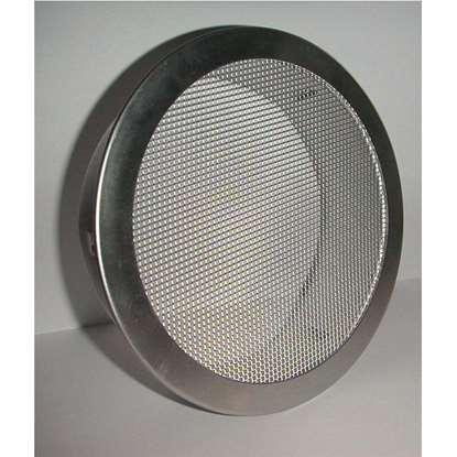 Bild von Entlüftungsgitter ERAF Alu Ø 125mm, Stutzen 45mm, Klemmlaschen. Insektenschutzgitter aus Aluminium.