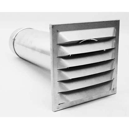 Image de Grille de façade avec tuyau télescopique TMR-E125 Ø 125mm longeur 33-56cm avec clapet de retenue automatique.