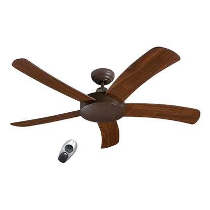 Image de Ventilateur de plafond Falcetto 132 BA brun antique Ø 132 cm. Hélices noyer avec télécommande