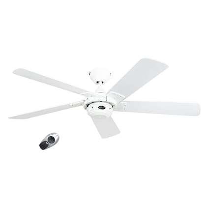Image de Ventilateur de plafond Rotary 132 BN, blanc Ø 132cm, avec télécommande. Couleur d'hélices laque blanc.