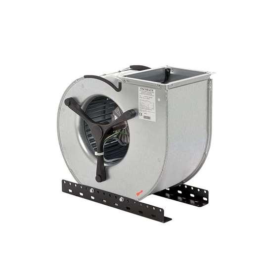 Image sur Ventilateur radiaux 230V, CE5-670/EM 15, aspiration d'un côté. Côté d'aspiration à droite. Avec des pales recourbées en avant. Avec moteur EC. (Fischbach)