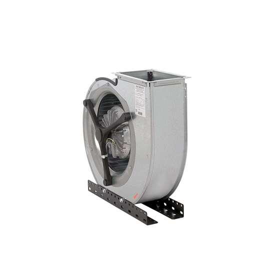Image sur Ventilateur radiaux 400V, CFE7-840/DM 500, aspiration d'un côté. Côté d'aspiration à gauche. Avec des pales recourbées en avant. Avec moteur EC. (Fischbach)