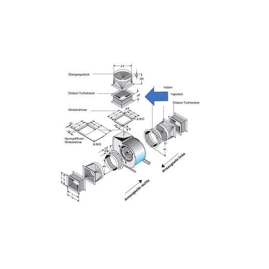Bild von Distanz-Tuchstutzen für Ausblas-Seite. Für CFE 930. (Fischbach)