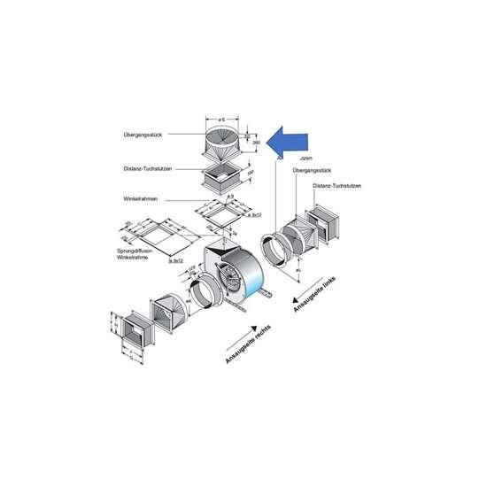Image sur Pièce de transition pour côté d'extraction. Pour CE5-670,CE 470. (Fischbach)