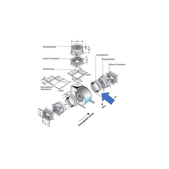 Immagine di Bocchettone d'aspirazione per lato d'aspirazione. Per CFE 930, CE 990, CE9-090, CFE 930, CFE9-070. (Fischbach)