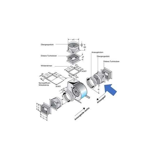Bild von Übergangsstück für Ansaug-Seite. Für CFE7-840, CE 790, CFE 740. (Fischbach)