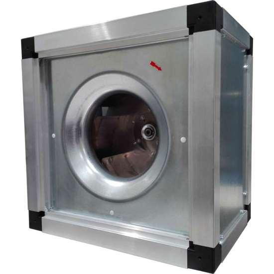 Image sur Ventilateur radiaux 400V, Easy-Box FEB 500/DM 1. Ventilateur d'évacuation de cuisine avec une roue libre et de pales recourbées en arrière.  Convient également pour un montage vertical. Avec moteur EC. (Fischbach)