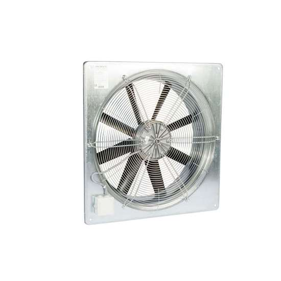 Image sur Ventilateur axial Fischbach 400V, AW 630 / D1 (anneau mural carré) avec grille de protection.