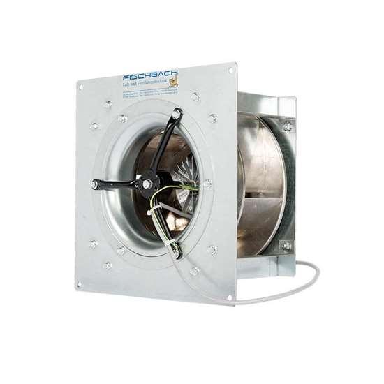 Immagine di Ruota libera 230V, FLRE 355/E 15 nel telaio d'incasso con pale incurvate indietro e motore d'armatura a disco regolabile. (Fischbach)