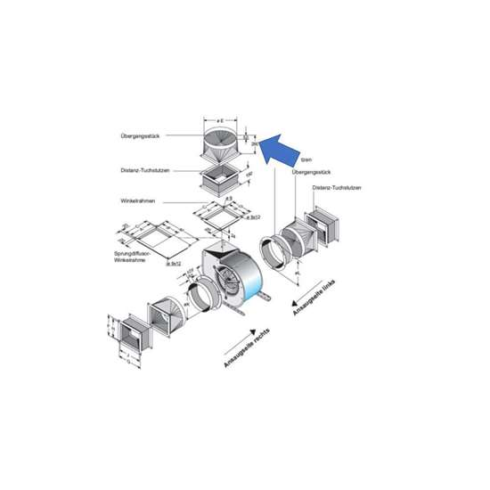 Image sur Pièce de transition pour côté d'extraction. Pour D 270. (Fischbach)