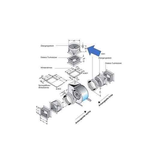Image sur Pièce de transition pour côté d'extraction. Pour D 670, DS 6-740, DS 6-770. (Fischbach)