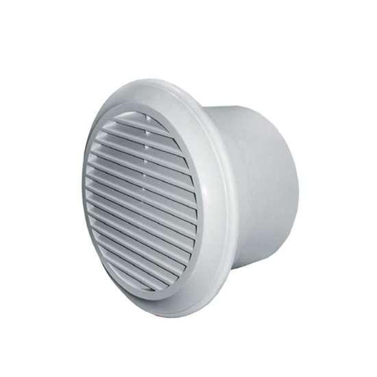 Image sur Deco 100 ventilateur salle de bain, sans temporisateur. Avec plaque frontale ronde et clapet de fermeture.