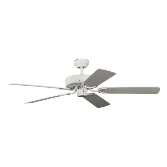 Image sur Ventilateur de plafond Potkuri Ø 132cm. Blanc. Hélices blanc/blanc rattan.
