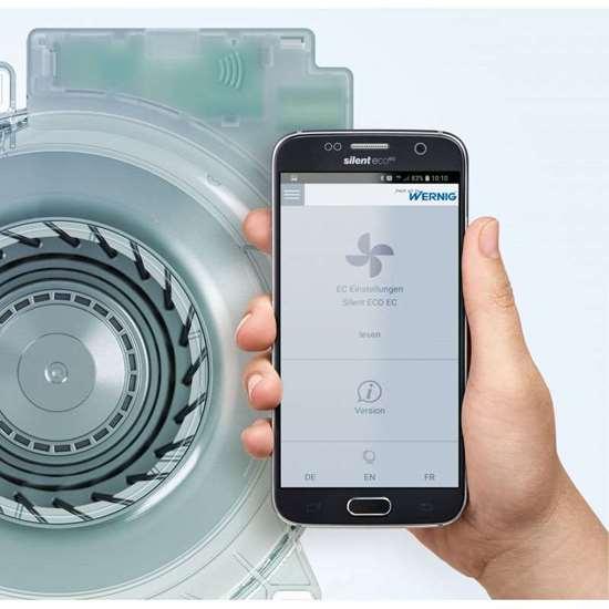 Immagine di Ventilatore per inserimento Wernig Silent ECO U EC. I parametri sono programmati tramite un'applicazione per cellulari.