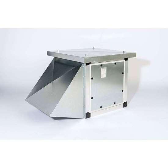 Immagine di Ventilatore da tetto 400V, 41.308-EC, D 970/DM 2, aspirazione bilaterale, uscita d'aria sul lato. Ventilatore radiale con pale incurvate in avanti. Con motore EC. (Fischbach)